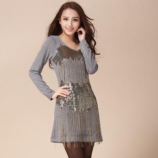 Ando Store - Sequined Fringed T-Shirt Dress