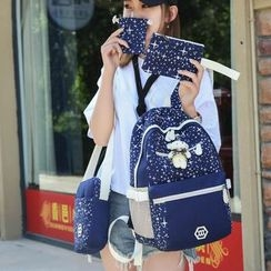 Risage - Set of 4: Star Print Backpack + Crossbody Bag + Zip Pouch + Drawstring Pouch