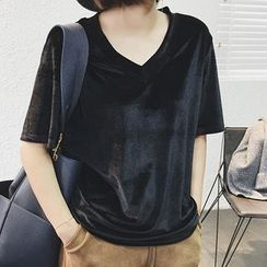 Supernini - 純色V領短袖T恤