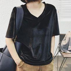 Supernini - 纯色V领短袖T恤