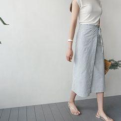 STYLEBYYAM - Stripe Tie-Waist Midi Wrap Skirt
