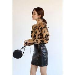 migunstyle - Round-Neck Leopard Knit Top