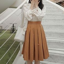 mimi&didi - Pleated Cotton Midi Skirt