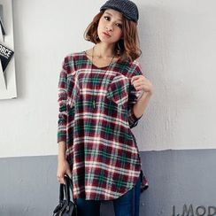 OrangeBear - Long-Sleeve V-Neck Plaid Long Top