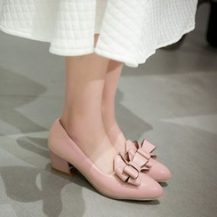 JY Shoes - Bow Block Heel Pumps