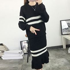 FR - Set: Stripe Sweater + Ruffle Hem Knitted Midi Skirt