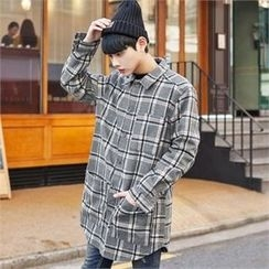 TOMONARI - Multi-Pocket Plaid Long Shirt
