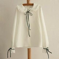 Angel Love - Tie-Neck Peter Pan Collar Chiffon Blouse