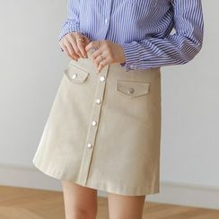 JUSTONE - Flap-Pocket Buttoned A-Line Mini Skirt