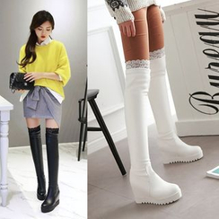 Shoes Galore - Lace Panel Hidden Wedge Over-the-Knee Boots