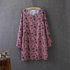 Blue Rose - Floral Print Long-Sleeve A-Line Dress