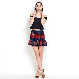 YiGelila - Plaid Ruffled Skirt