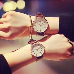 InShop Watches - Couple Matching Faux-Leather Strap Watch