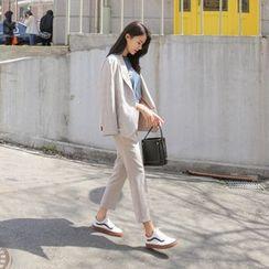 WITH IPUN - Plaid Tapered Dress Pants