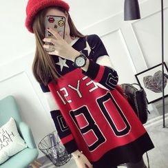 Qimi - Printed Color Block Sweater