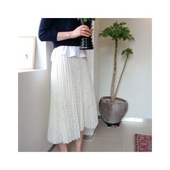 LEELIN - Pleated Lace Long Skirt