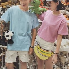 Evolu Fashion - Lettering Short Sleeve Couple Matching T-Shirt