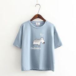 Vateddy - Zebra Print Short Sleeve T-Shirt
