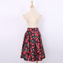 V-MAY - Cherry-Print Pleated A-Line Skirt