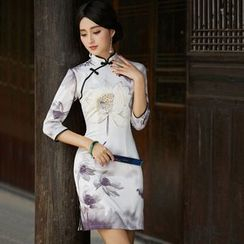 Miss Four Qipao - 3/4-Sleeve Print Flower Cheongsam