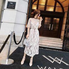 RUI - 套装: 荷叶中袖T裇连衣裙 + 钩花幼肩带连衣裙