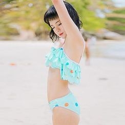 Zeta Swimwear - Set: Dotted Ruffle Bikini + Dotted Ruffle Skirt