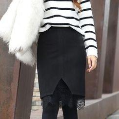 潞依韩 - 蕾丝摆毛呢短裙