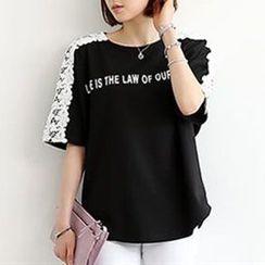 Champi - Lace Panel Short-Sleeve Lettering T-Shirt