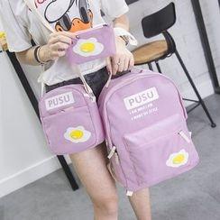 Aoba - 套裝:印花背包 + 斜挎包 + 抽繩 + 小袋