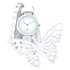 t. watch - White Leather Strap with Butterfly Charm Strap Watch