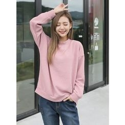 BBAEBBAE - Drop-Shoulder Ribbed Sweatshirt