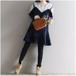 Clover Dream - 假两件植毛绒拼接长袖连衣裙