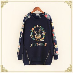 Fairyland - Rabbit Print Floral Print Panel Pullover