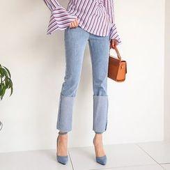 PPGIRL - Cuff-Hem Straight-Cut Jeans