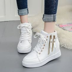 YIVIS - Zip Side Hidden Wedge Sneakers