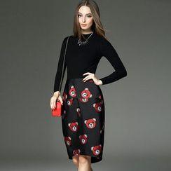 洛图 - 羊毛混纺长袖拼接连衣裙