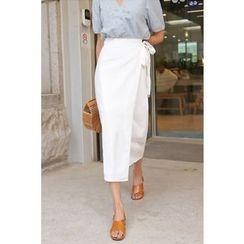 PPGIRL - Wrap-Front Midi Skirt