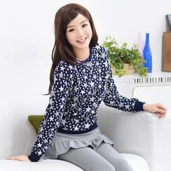 59 Seconds - Star Pattern Long-Sleeve Top