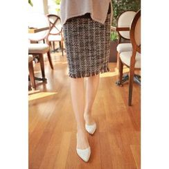 Momnuri - Maternity Fringed Tweed Pencil Skirt