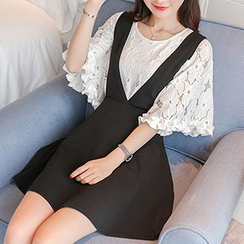 Niebla - Set : Bell-Sleeve Lace Top + Jumper Skirt