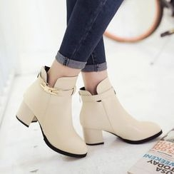 Pastel Pairs - Chunky Heel Buckled Ankle Boots