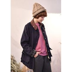 GOROKE - Contrast-Collar Flap-Pocket Jacket