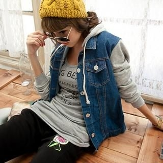 CUTIE FASHION - Jersey-Panel Printed-Hood Denim Jacket