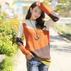 Styleonme - Color-Block Tunic Sweater