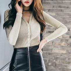 Aurora - 套裝: 飾釦針織上衣 + 拉鍊迷你裙