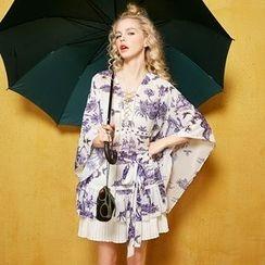 妖精的口袋 - 五分袖拼接印花連衣裙