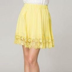 O.SA - Lace-Hem Pleated Skirt