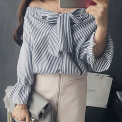 QZ Lady - Off Shoulder Bow Neck Striped Blouse