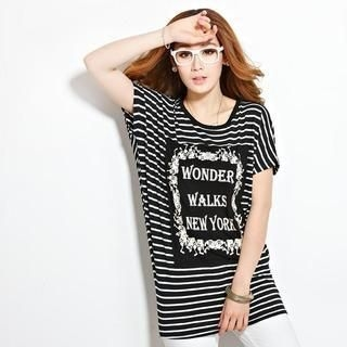 Anzhier - Short-Sleeve Striped Lace Panel T-Shirt