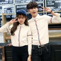Tabula Rasa - Couple Matching Stripe Long-Sleeve Shirt
